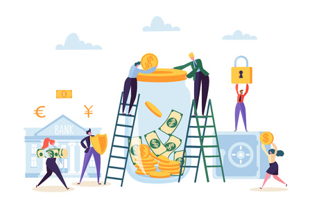 Illustration pour Money Savings Concept. Business People Characters Investing Money on Bank Account. Moneybox, Safe Deposit, Banking. Vector illustration - image libre de droit