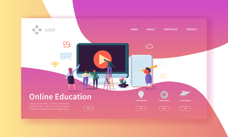 Ilustración de Online Education Landing Page. E-learning Concept with Flat People Characters on Online Courses Website Template. Easy Edit and Customize. Vector illustration - Imagen libre de derechos