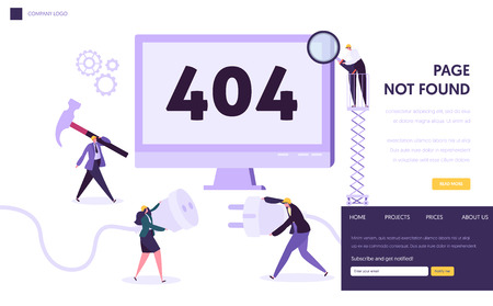 Illustrazione per 404 Maintenance Error Landing Page Template. Page Not Found Under Construction Concept with Characters Workers Fixing Internet Problem for Website. Vector illustration - Immagini Royalty Free