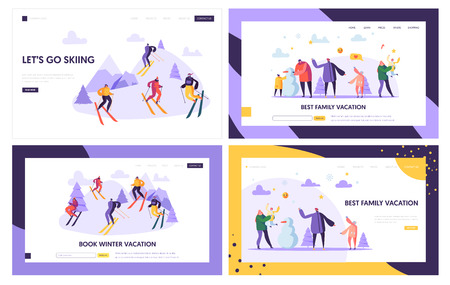 Illustration pour Winter Vacation Landing Page Template. Active People Characters on Ski Resort, Family Holidays, Winter Sports for Web Page or Website. Vector illustration - image libre de droit