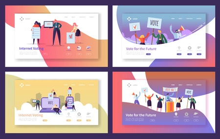 Illustration pour Voting Elections Landing Page Template Set. Business People Characters Internet Voting, Political Meeting Concept for Website or Web Page. Vector illustration - image libre de droit