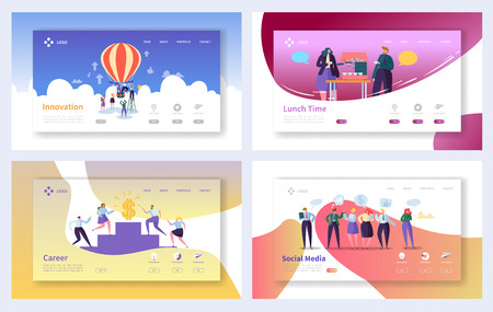 Illustration for Business Landing Page Template Set. Business People Characters Social Media, Innovation, Career Growth Concept for Website or Web Page. Vector illustration - Royalty Free Image