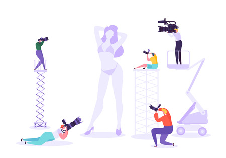 Illustration pour Photography studio with young female model posing and photographers at work. Characters with photo equipment on shooting session. Vector illustration - image libre de droit