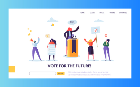 Illustration pour Voting Elections Landing Page Template. Business People Characters Political Meeting Concept for Website or Web Page. Easy Edit. Vector illustration - image libre de droit