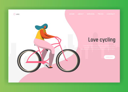 Illustrazione per Cycling landing page template. Happy woman character riding bicycle, healthy lifestyle concept for website or web page. Easy edit. Vector illustration - Immagini Royalty Free