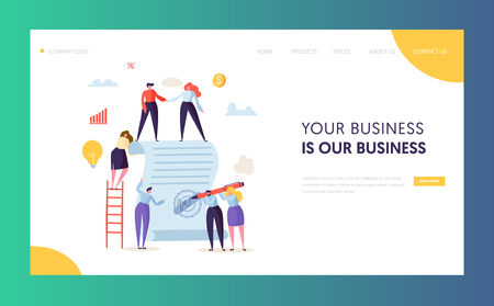 Illustrazione per Business Character Signing Contract Landing Page. People Making Agreement about Cooperation or Partnership for Website or Web Page. Flat Cartoon Vector Illustration - Immagini Royalty Free