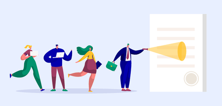 Illustrazione per Businessman Character Reading Contract with Stamp. Business Team People Looking at Paper Agreement. Partnership Cooperation Concept. Flat Cartoon Vector Illustration - Immagini Royalty Free