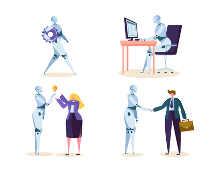 Illustration pour Robot Work in Office with People. Machine Ai Character Help Businessman in Future Job. Cyborg and Man make Agreement with Handshake. Flat Cartoon Vector Illustration - image libre de droit