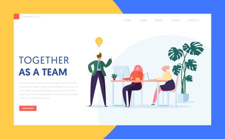 Ilustración de Teamwork Creative Idea Concept for Landing Page. Agency Character Brainstorm for New Digital Business Strategy. Office Team Work Process Website or Banner. Flat Cartoon Vector Illustration - Imagen libre de derechos