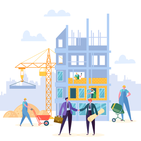 Illustrazione per Building Agreement Handshake Vector Design. Businessman and Engineer have Construction Partnership Contract, Crane and Property Background. Business Character Commercial Entrepreneurship Illustration - Immagini Royalty Free
