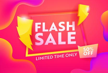 Illustration pour Flash Sale Hot Advertising Horizontal Poster. Business Ecommerce Discount Promotion Gradient Template. Lightning Symbol on Marketing Closeout Deal Banner Design Vector Illustration - image libre de droit