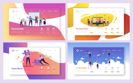 Illustrazione per Business People Teamwork Innovation Landing Page Set. Creative Character Team Partnership to Increase Company Success Growth. Businessman Partner Concept for Web Page. Flat Cartoon Vector Illustration - Immagini Royalty Free
