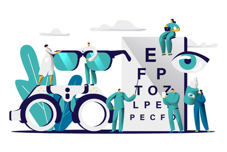 Illustration pour Ophthalmologist Doctor Test Myopia Eye. Male Oculist with Pointer Checkup Optometry for Eyeglasses. Medical Optician Team hold Eyewear, Drop for Treatment Flat Cartoon Vector Illustration - image libre de droit