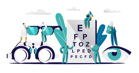 Illustration pour Ophthalmologist Doctor Check Eyesight for Eyeglasses Diopter. Male Oculist with Pointer Checkup eye Sight. Professional Optician Team Exam Patient for Treatment Drop Flat Cartoon Vector Illustration - image libre de droit