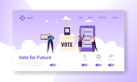 Illustration pour Online E-voting Registration Concept Landing Page. Man Voting in Democracy Government Electronic Election. Confidential Choice Smartphone Technology Website Web Page. Flat Cartoon Vector Illustration - image libre de droit