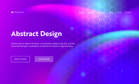Illustration pour Purple Abstract Geometric Hexagon Shape Landing Page Background. Futuristic Digital Motion Gradient Pattern. Creative Soft Neon Backdrop Element for Website Web Page. Flat Cartoon Vector Illustration - image libre de droit