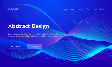 Illustration pour Blue Abstract Geometric Frequency Wave Shape Landing Page Background. Futuristic Digital Motion Pattern. Creative Neon Line Backdrop Element for Website Web Page. Flat Cartoon Vector Illustration - image libre de droit