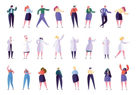 Illustrazione per Creative Different Business Profession People Set. Business Character in Various Lifestyle: Director, Secretary, Manager, Doctor, Nurse, Foreman, Builder. Flat Cartoon Vector Illustration - Immagini Royalty Free