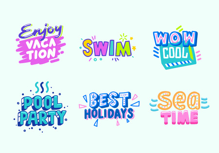 Illustration for Summer Beach Vacation Tropical Banner Design Set. Paradise Pool Party Typography Poster Template. Marketing Advertising Badge for Best Sea Time Event Flat Cartoon Vector Illustration - Royalty Free Image