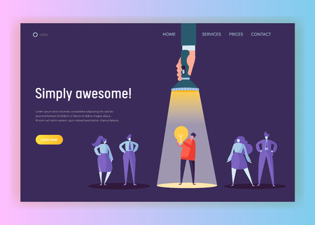 Ilustración de Recruitment Career Leadership Creative Idea Concept Landing Page. Flashlight Pointing to Male Character Lighting. Innovation Hr Company Solution Website or Web Page. Flat Cartoon Vector Illustration - Imagen libre de derechos
