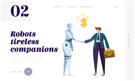 Illustration pour Robot Tireless Companion Landing Page. Intrinsic Motivation Push Machine to Search for Novelty, Challenge, Compression or Learning Progress Website or Web Page. Flat Cartoon Vector Illustration - image libre de droit