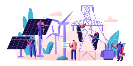 Ilustración de Electrical Utility Delivery of Energy to Consumer. Electricity Transmission and Distribution. Character Installation Solar Panel and Maintenance Wind Turbine. Flat Cartoon Vector Illustration - Imagen libre de derechos