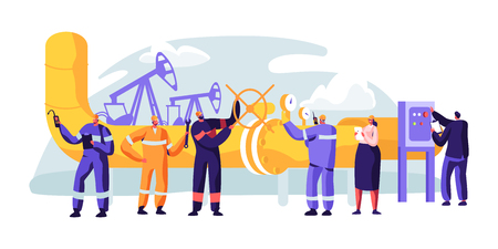 Illustration pour Oil Pipeline Service. Character Control and Checking Cathodic Protection Level. Surveillance Construction, Erosion or Leaks. Transportation Liquid or Gas. Flat Cartoon Vector Illustration - image libre de droit