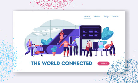 Illustration pour Airport Terminal with Passengers Waiting for Flight Landing Page Template. Traveling Man and Woman with Baggage on Security Check Scanner for Website, Web Page Banner. Vector flat illustration - image libre de droit