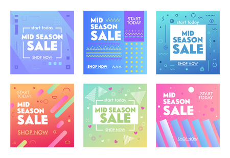 Illustration pour Set of Colorful Banners with Abstract Geometric Pattern for Mid Season Sale. Promo Post Design Templates for Social Media Digital Marketing. Flyers for Influencer Brand Promotion. Vector Illustration - image libre de droit