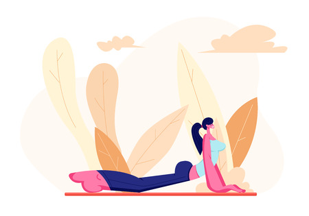Ilustración de Female Character in Perfect Physical Shape Doing Fitness, Yoga or Aerobics Exercises on Nature, Aerobic Training for Good Feeling and Healthy Life, Woman Engage Sport. Cartoon Flat Vector Illustration - Imagen libre de derechos