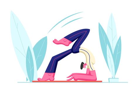Ilustración de Yoga Workshop or Class, Young Healthy Male Character Trying Keep Balance Doing Yoga Asana or Pilates Exercise Openair, Scorpion Pose, Vrischikasana. Fitness Sport Life Cartoon Flat Vector Illustration - Imagen libre de derechos
