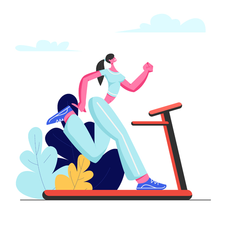 Ilustración de Beautiful Woman Running on Treadmill. Athletic Young Girl in Sportswear Exercising on Treadmill to be Slim. Outdoor Fitness and Healthy Lifestyle. Active Sport Life Cartoon Flat Vector Illustration - Imagen libre de derechos