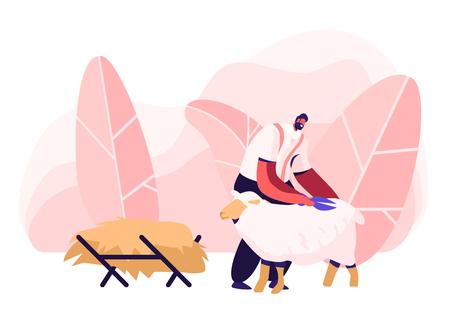 Ilustración de Mature Farmer Shearing Sheep for Wool in Barn. Sheepshearer Character at Working Process on Farm. Shearer Man Removing Sheep Wool. Ewe Having Fleece Sheared Off. Cartoon Flat Vector Illustration - Imagen libre de derechos