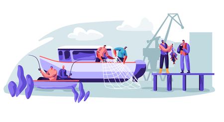 Ilustración de Fisherman Working on Fishery Industry on Large Boat Ship. Fishermen Catching Fish, Pulling Fishing Net from Sea, Giving Catch Haul to Customer, Fishing Industry. Cartoon Flat Vector Illustration - Imagen libre de derechos
