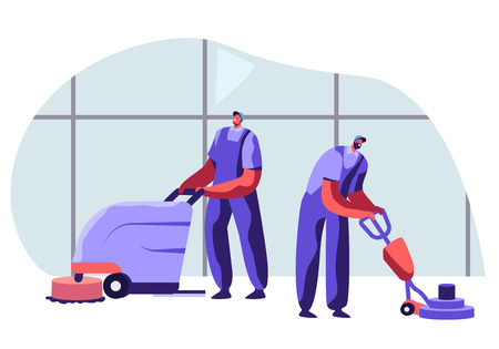 Illustration for Cleaning Company Staff Male Characters in Uniform Working with Equipment and Friendly Smiling, Professional Janitor Workers Vacuuming and Polishing Floor in Office. Cartoon Flat Vector Illustration - Royalty Free Image