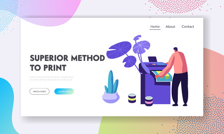 Illustration pour Man Printing Ad on Multifunction Laser or Inkjet Printer. Working Process in Typography or Advertising Agency, Creative Studio. Website Landing Page, Web Page. Cartoon Flat Vector Illustration, Banner - image libre de droit