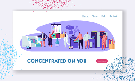 Illustration pour Printing House or Advertising Agency, Polygraphy Industry. Customers, Designers, Workers Producing Press Consumable Ad Material Website Landing Page, Web Page. Cartoon Flat Vector Illustration, Banner - image libre de droit