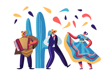 Illustrazione per Cinco De Mayo Festival. Mexican Artists Band of Man with Accordion and Couple of Male and Female Dancers in Traditional Clothes Celebrating National Folk Music Holiday Cartoon Flat Vector Illustration - Immagini Royalty Free