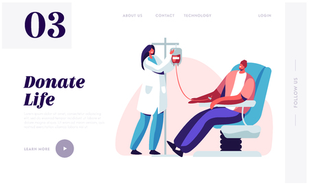 Illustration pour Blood Donation Website Landing Page. Male Character Donate Blood for Diseased People, Female Nurse Taking Lifeblood into Plastic Container. Donor Web Page. Cartoon Flat Vector Illustration, Banner - image libre de droit