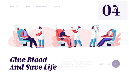 Illustration for Blood Donation Website Landing Page, Volunteers Male Characters Sitting in Medical Hospital Chair Donating Blood, Male Donors in Clinic, Female Nurse Web Page. Cartoon Flat Vector Illustration, Banner - Royalty Free Image