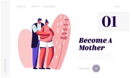 Ilustración de Happy Couple of Husband and Wife Prepare Become Parents. Man Embracing Pregnant Woman with Big Belly. Young Family Waiting Baby, Website Landing Page, Web Page Cartoon Flat Vector Illustration, Banner - Imagen libre de derechos