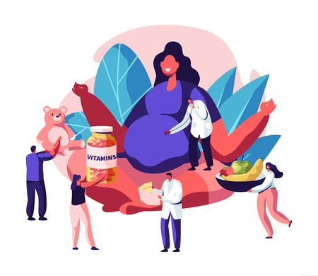 Ilustración de Huge Pregnant Woman with Big Belly Sitting in Lotus Pose Surrounded with Doctors Giving her Vitamines, Baby Toys, Healthy Nutrition. Female Character Happy Pregnancy, Cartoon Flat Vector Illustration - Imagen libre de derechos