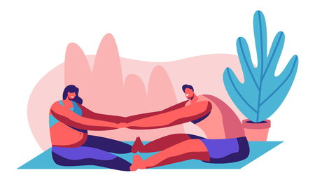 Ilustración de Happy Couple Doing Stretching Exercises in Gym. Man and Pregnant Woman Visit Parenting Classes, Young People Awaiting Baby, Sports Exercise, Healthy Desired Pregnancy. Cartoon Flat Vector Illustration - Imagen libre de derechos