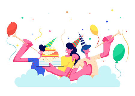 Ilustración de Birthday Party. Group of Cheerful People in Festive Hats Playing Pipes Celebrating Holiday on Colorful Background with Cake, Balloons and Confetti, Men, Women Rejoice. Cartoon Flat Vector Illustration - Imagen libre de derechos