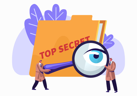 Illustration pour Police, Intelligence Service, Spies, Watchers Searching for Top Secret Files with Magnifier Glass. Police Private Detectives at Work Investigating and Solving Crimes. Cartoon Flat Vector Illustration - image libre de droit
