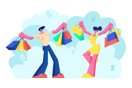 Ilustración de Cheerful People Holding Shopping Bags with Purchases. Smiling Woman and Man Family Characters with Paper Packings Having Pleasure of Buy. Seasonal Sale at Store, Shop. Cartoon Flat Vector Illustration - Imagen libre de derechos