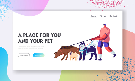 Illustrazione per Man Spend Time with Pet Outdoors. Male Character Walking with Dogs Team, Relax, Leisure, Communication, Love, Care of Animals. Website Landing Page, Web Page. Cartoon Flat Vector Illustration, Banner - Immagini Royalty Free