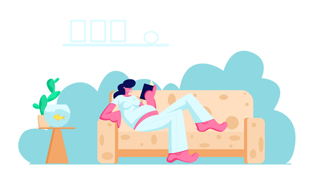 Ilustración de Young Pregnant Woman with Big Belly Lying on Comfortable Sofa Reading Book at Home. Leisure, Spare Time, Weekend, Girl Waiting Baby, Maternity, Parenting, Relaxation Cartoon Flat Vector Illustration - Imagen libre de derechos