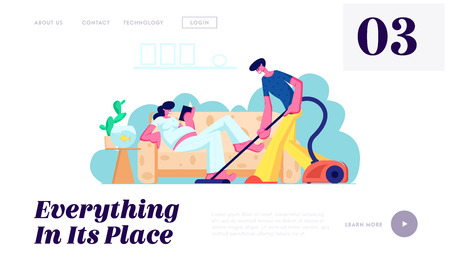 Ilustración de Man Vacuuming Floor, Pregnant Woman with Big Belly Reading on Couch. Family Waiting Baby, Couple Husband and Wife Clean Home Website Landing Page, Web Page. Cartoon Flat Vector Illustration, Banner - Imagen libre de derechos