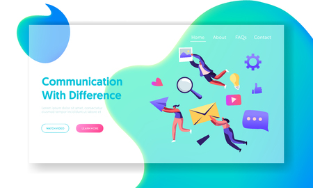 Ilustración de Communication Concept, People Holding in Hands Envelope, Paper Airplane, Photo. Social Media Networking, Internet Accounting Website Landing Page, Web Page. Cartoon Flat Vector Illustration, Banner - Imagen libre de derechos